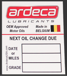 Ardeca Promotional Merchandise Oil Change Sticker